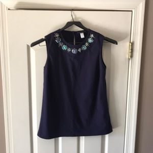 Black Label by Chico's blue beaded neckline top M